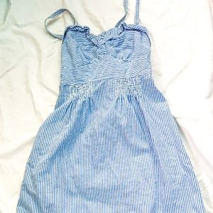 American Eagle Blue White Pinstriped Dress